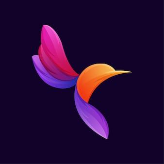 Modello di logo colorato gradiente uccello colibrì