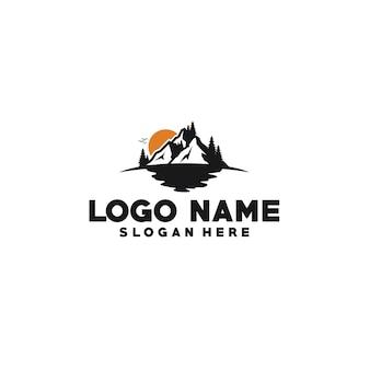 Modello di logo con isotipo di montagna