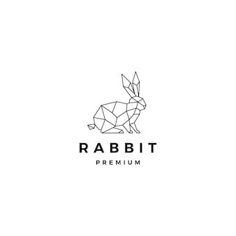 Modello di logo coniglio geometrico lepre coniglio