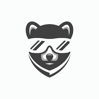 Modello di logo cool face bear