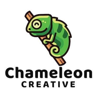 Modello di logo creativo camaleonte