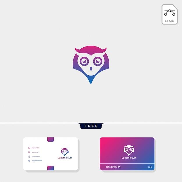 Modello di logo creativo concetto gufo e modello di biglietto da visita includono