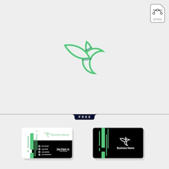 Modello di logo creativo di arte linea colibrì