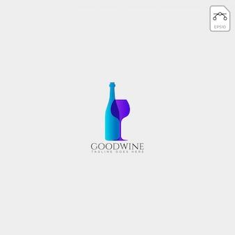 Modello di logo creativo di birra vetro e bottiglia, elemento dell'icona