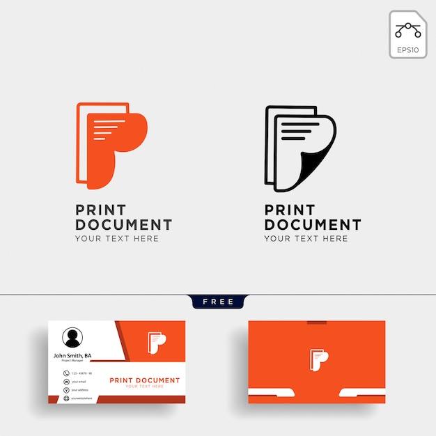Modello di logo creativo di carta lettera p con biglietto da visita