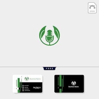 Modello di logo creativo di podcast eco foglia