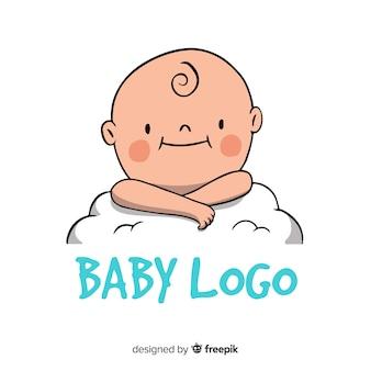 Modello di logo del bambino disegnato a mano moderno