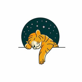 Modello di logo del bambino tigre che dorme