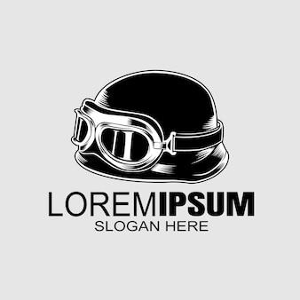 Modello di logo del casco del motociclista.