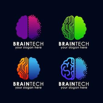 Modello di logo del cervello digitale