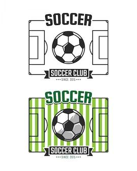 Modello di logo del club di calcio. emblema dello sport vettoriale. campo da calcio