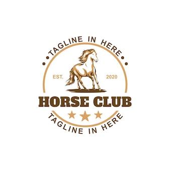 Modello di logo del club di cavalli