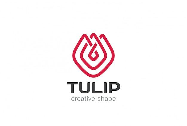Modello di logo del fiore del tulipano nello stile lineare astratto