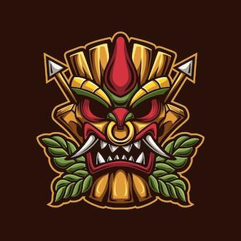 Modello di logo del fumetto della maschera della testa di tiki con illustrazione del fuoco. esport logo gaming