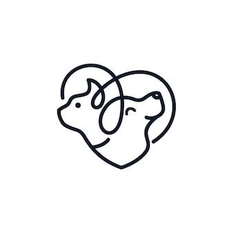 Modello di logo del gatto del cane veterinario