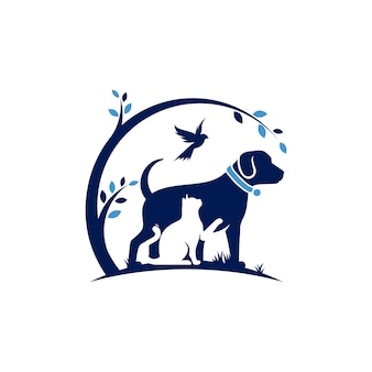 Modello di logo del gatto e dell'uccello del cane veterinario