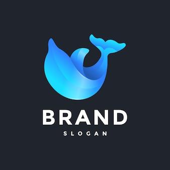 Modello di logo del gradiente delfino