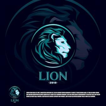 Modello di logo del leone sport team