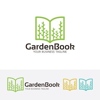 Modello di logo del libro del giardino
