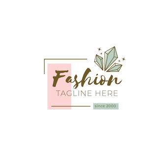 Modello di logo del marchio di moda con slogan