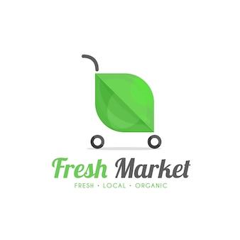 Modello di logo del mercato fresco