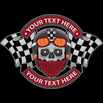 Modello di logo del motociclo club teschio