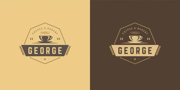 Modello di logo del negozio di tè o caffè con silhouette di fagioli buona