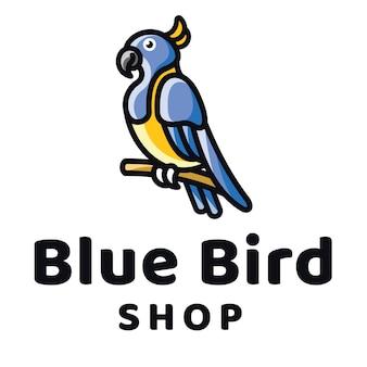 Modello di logo del negozio di uccelli blu