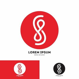 Modello di logo del profilo del lineart della lettera s minimalista
