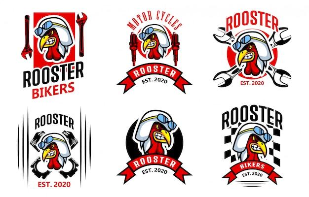 Modello di logo del ristorante di pollo biker gallo