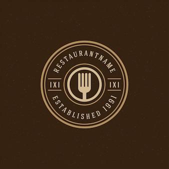 Modello di logo del ristorante, silhouette forcella buona per menu ristorante e badge bar