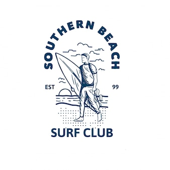 Modello di logo del sud beach surf club