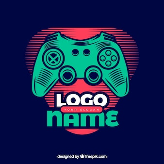 Modello di logo del video gioco con stile retrò