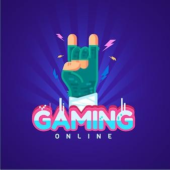 Modello di logo del videogioco con joystick
