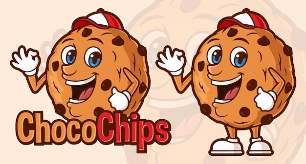 Modello di logo delizioso choco chips, con personaggio dei cartoni animati divertente