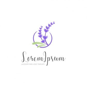 Modello di logo dell'azienda agricola della famiglia della lavanda