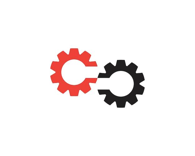 Modello di logo dell'ingranaggio infinito
