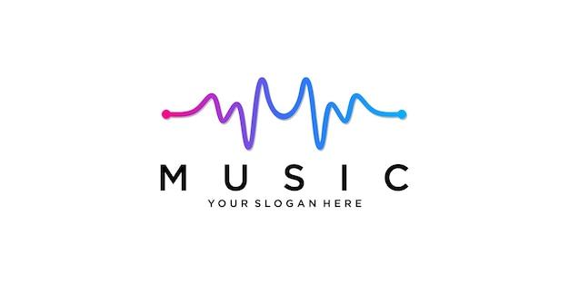 Modello di logo dell'onda di musica