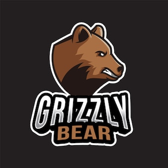 Modello di logo dell'orso grigio
