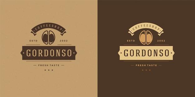 Modello di logo della caffetteria con la siluetta del fagiolo buona
