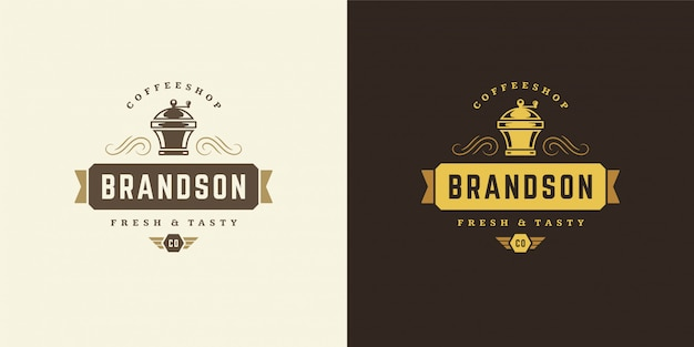 Modello di logo della caffetteria con la siluetta della smerigliatrice buona