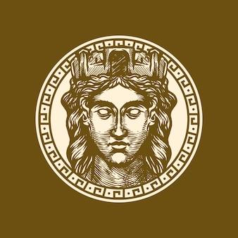 Modello di logo della faccia della regina