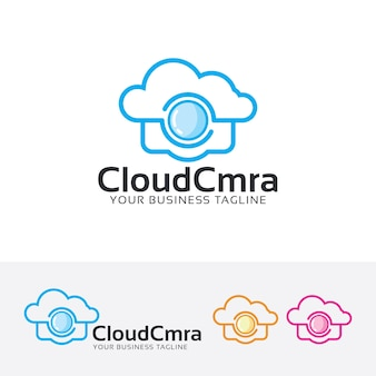 Modello di logo della fotocamera cloud