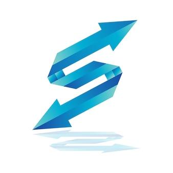 Modello di logo della freccia della lettera s, logo della freccia blu