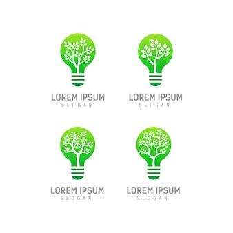Modello di logo della lampadina con il concetto di foglie e alberi all'interno, disegno di marchio della lampadina