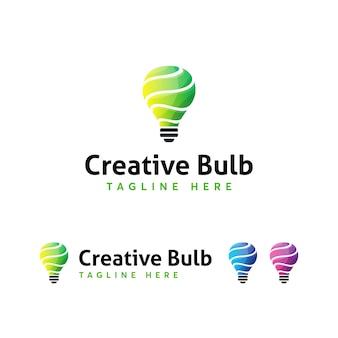 Modello di logo della lampadina creativa
