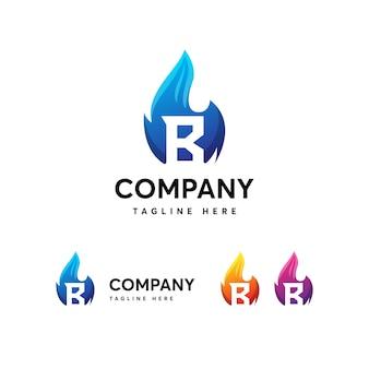 Modello di logo della lettera b fuoco delle fiamme