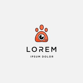 Modello di logo della macchina fotografica della zampa del cane