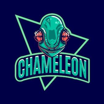 Modello di logo della mascotte del camaleonte