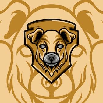 Modello di logo della mascotte del cane
